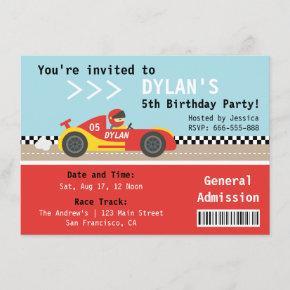 Racing Car, Birthday Party, Boys Admission Ticket Invitation