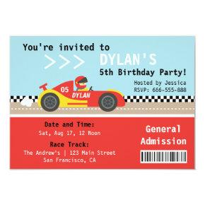 Racing Car, Birthday Party, Boys Admission Ticket Invitations