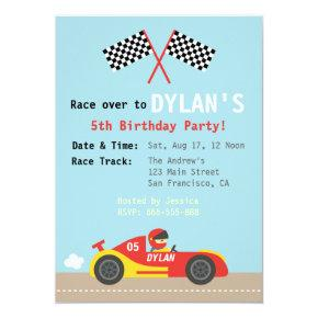 Racing Car Theme, Birthday Party for the Boys Invitations