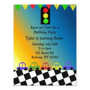 Racing Car Traffic Light Birthday Party Invitations