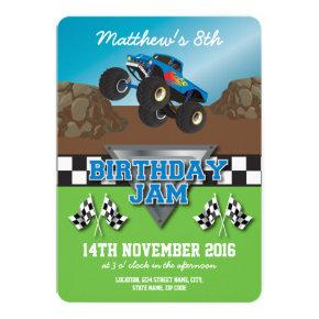 Racing Monster Jam Truck Birthday Party Invitations
