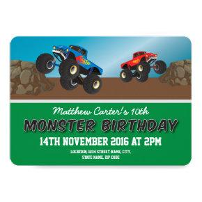 Racing Monster Jam Trucks Personalized Birthday Invitation