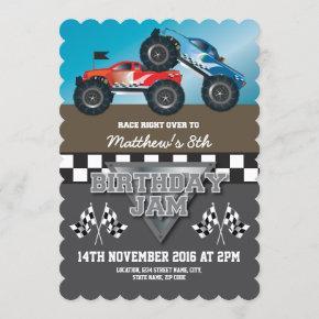 Racing Monster Jam Trucks Personalized Birthday Invitation