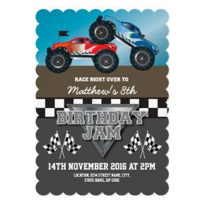 Racing Monster Jam Trucks Personalized Birthday Invitations