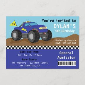 Racing Monster Truck Party, Blue Admission Ticket Invitation