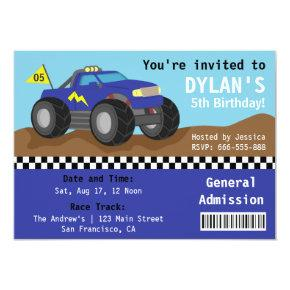 Racing Monster Truck Party, Blue Admission Ticket Invitations