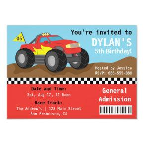 Racing Monster Truck Party, Boys Admission Ticket Invitation