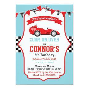 Racing themed birthday party invitation