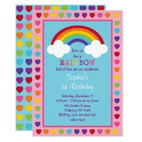 Rainbow 1st Birthday Invitations