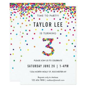 Rainbow 3rd Birthday Party, Third Birthday Invitations