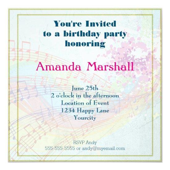 Rainbow And Music Notes Party Invitations