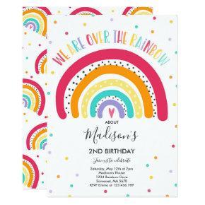 Rainbow Birthday Invitation Bright Rainbow Party