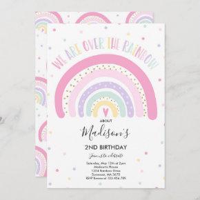 Rainbow Birthday Invitation Pastel Rainbow Party