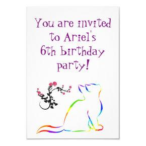 Rainbow cat, white fill invitation