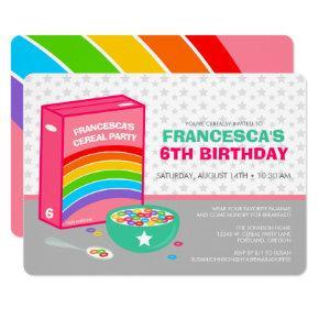 Rainbow Cereal Birthday Party Invitation