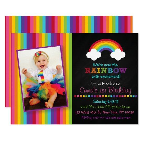 Rainbow chalkboard 1st birthday invitations candied clouds rainbow chalkboard 1st birthday invitations filmwisefo