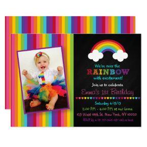 Rainbow Chalkboard 1st Birthday Invitations
