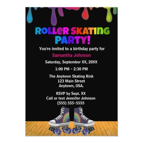 Rainbow Color Paint Drip Roller Skating Birthday – Candied