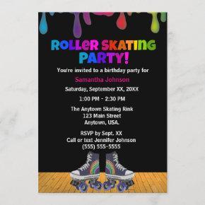 Rainbow Color Paint Drip Roller Skating Birthday Invitation