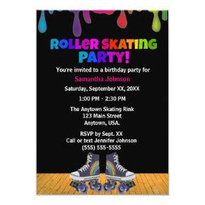 Rainbow Color Paint Drip Roller Skating Birthday Invitation