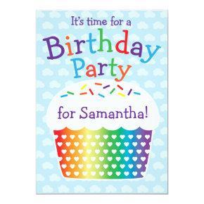 Rainbow Cupcake Kids Birthday Party Invitation