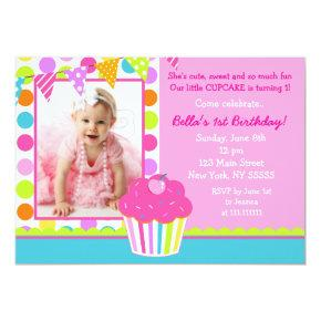 Rainbow Cupcake Photo Birthday Party Invitation