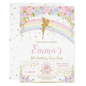 Rainbow Fairy Birthday Party Invitation Girl