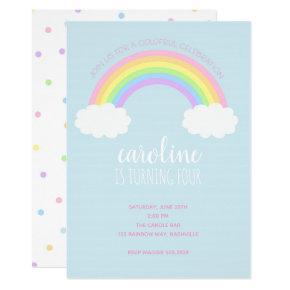 Rainbow Girl's Birthday Invitation