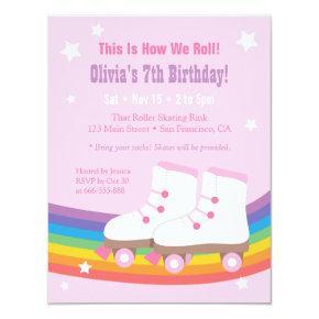 Rainbow Girls Skating Birthday Party Invitations