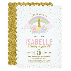 Rainbow Glitter Unicorn Birthday Party Invitation