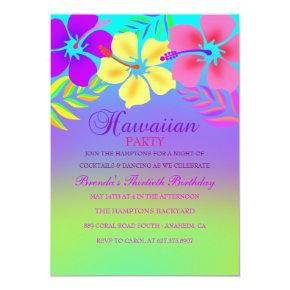 Rainbow Hawaiian Flower Birthday Invitations