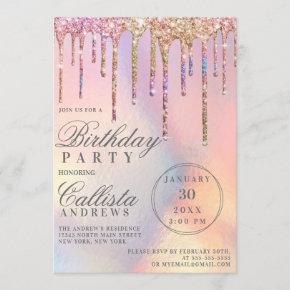 Rainbow Holographic Glitter Drips Birthday Invitation