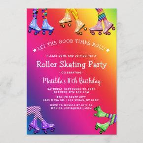 Rainbow Kids Roller Skating Birthday Party Invitation