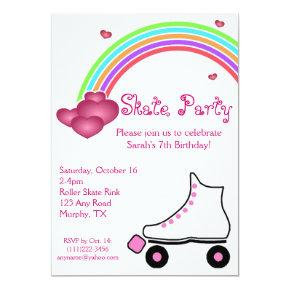 Rainbow Roller Skate Birthday Invitations