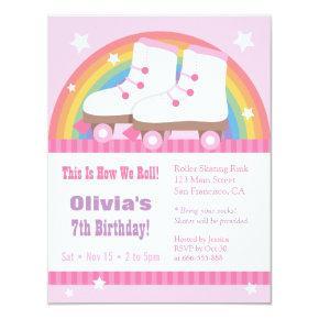 Rainbow Roller Skating Birthday Party Invitations