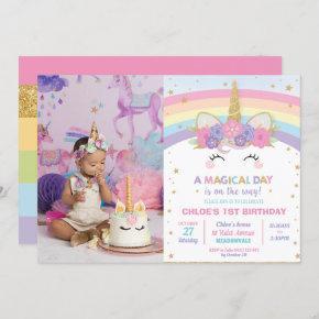 Rainbow Unicorn 1st Birthday Party Girl with Photo Invitation
