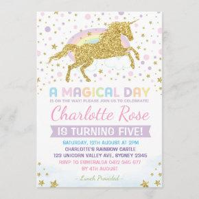 Rainbow Unicorn Birthday Invitation Party Invites