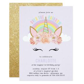 Rainbow Unicorn Birthday Invitations Pink Gold