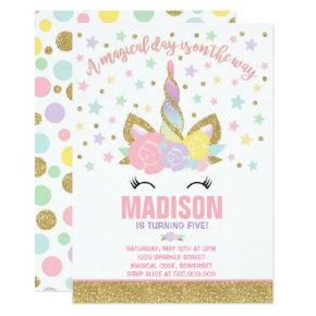 Rainbow Unicorn Birthday Invitations Pink Gold