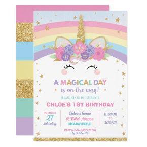 Rainbow Unicorn Birthday Party Girl Invitation