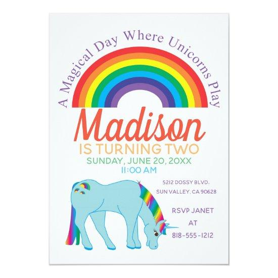 Rainbow Unicorn Birthday Party Invitations Candied Clouds