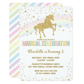 Rainbow Unicorn Birthday Party Invite Twinkle Star