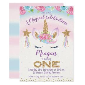Rainbow Unicorn Glitter 1st Birthday Invitation