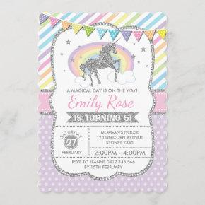 Rainbow Unicorn Silver Pink Birthday Party Invite