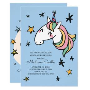 Rainbow Unicorn Stars Birthday Invitations