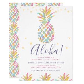 Rainbow Watercolor Pineapple Tropical Birthday Invitation
