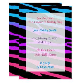 Rainbow Zebra Birthday Invitation Teen Girls Party
