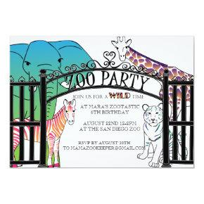 Rainbow Zoo Party invitation