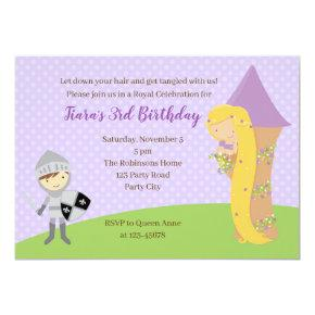 Rapunzel Birthday Invitation with Knight & Tower