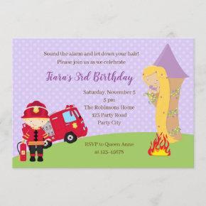 Rapunzel & Firefighter Birthday Invitation